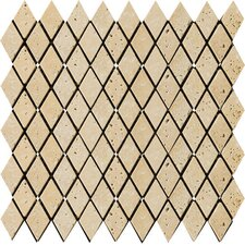 "Natural Stone 2"" x 1-1/4"" Fontane Travertine Rhomboid Mosaic in Ivory"