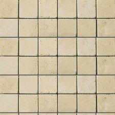 "Natural Stone 2"" x 2"" Travertine Mosaic in Ancient Beige"