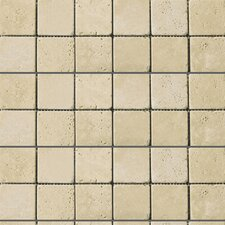 "Natural Stone 12"" x 12"" Travertine Mosaic in Ancient Beige"