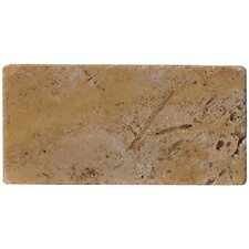 "Natural Stone 4"" x 8"" Tumbled Travertine Tile in Oro"