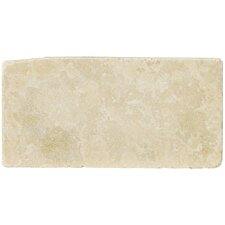"""Natural Stone 4"""" x 8"""" Tumbled Travertine Tile in Ancient Beige"""