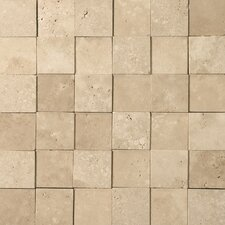 "Natural Stone 12"" x 12"" 3D Travertine Mosaic in Beige"