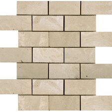Natural Stone Tumbled Travertine Offset Mosaic in Ancient Beige