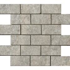 "Natural Stone 2"" x 1"" Travertine Offset Mosaic in Silver"