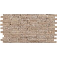 "Hamlet 6"" x 12"" Antique Tumbled Travertine Mosaic in Noce"