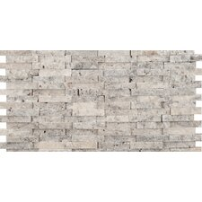 "Hamlet 6"" x 12"" Antique Tumbled Travertine Mosaic in Grey"