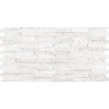 "Hamlet 6"" x 12"" Antique Tumbled Travertine Mosaic in White"