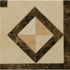 "Modulo 4"" x 4"" Antique Marble Corner Listello in Multicolor"