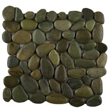 "Rivera 12"" x 12"" Pebble Mosaic in Olive"