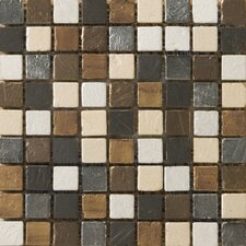 "Treasure 12"" x 12"" Metal Coated Travertine Mosaic Blend Tile in Wealth"