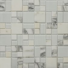 "<strong>Emser Tile</strong> Lucente 13"" x 13"" Stone and Glass Mosaic Pattern Blend in Ambrato"