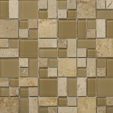 "<strong>Emser Tile</strong> Lucente 13"" x 13"" Stone and Glass Mosaic Pattern Blend in Regale"