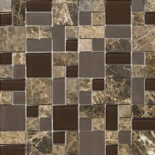 Lucente Random Sized Stone and Glass Mosaic Pattern Blend in Vetro