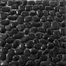 "Natural Stone 12"" x 12"" Rivera Pebble Mosaic in Black"