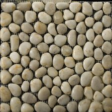"Natural Stone 12"" x 12"" Rivera Pebble Mosaic in Cream"