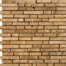 "<strong>Emser Tile</strong> Natural Stone 12"" x 12"" Travertine Brick-Joint Mosaic in Mocha"