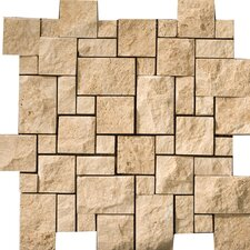 Natural Stone Random Sized Travertine Split Face Versailles Mosaic in Beige