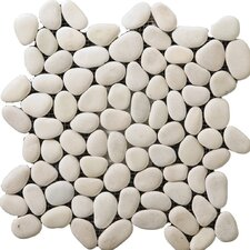 Natural Stone Random Sized Venetian Pebble Mosaic in Ivory
