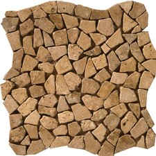 "Natural Stone 12"" x 12"" Travertine Pebble Mosaic in Mocha"