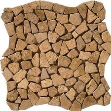 Natural Stone Random Sized Travertine Pebble Mosaic in Mocha