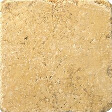 "Natural Stone 6"" x 6"" Travertine Vino Tumbled Tile in Gold"