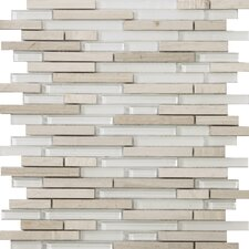 Lucente Random Sized Glass and Stone Glossy Mosaic in Andrea Linear