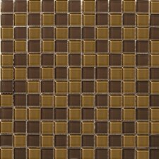 "Lucente 12"" x 12"" Glossy Glass Mosaic in Amber / Mulberry Blend"