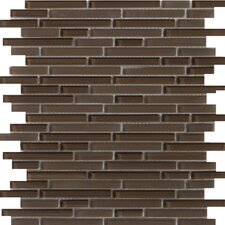 "<strong>Emser Tile</strong> Lucente 13"" x 13"" Glossy Glass Mosaic in Mulberry Linear"