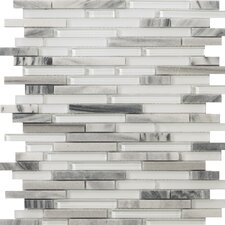 Lucente Random Sized Glass and Stone Glossy Mosaic in Grazia Linear