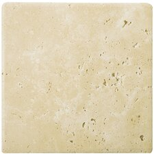 "Natural Stone 8"" x 8"" Tumbled Travertine Tile in Ancient Beige"