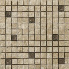 "Natural Stone 12"" x 12"" Tumbled Travertine Split Face Mosaic in Compound Beige"