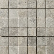 "Natural Stone 2"" x 2"" Travertine Mosaic in Silver"