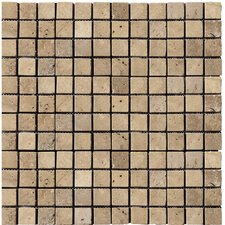 "Natural Stone 12"" x 12"" Travertine Mosaic in Mocha"