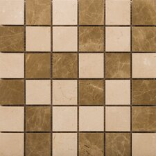 "<strong>Emser Tile</strong> Natural Stone 12"" x 12"" Polished Marble Mosaic in Crema Marfil/Emperador Light"