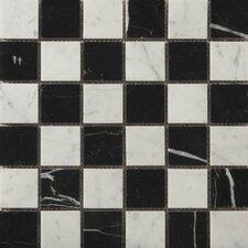 "Natural Stone 2"" x 2"" Marble Mosaic in Bianco Gioia/Black"