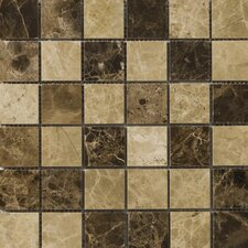 "Natural Stone 2"" x 2"" Polished Marble Mosaic in Emperador Light/Emperador Dark"