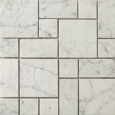 "Natural Stone 12"" x 12"" Mini Versailles Honed Marble Mosaic in Bianco Gioia"