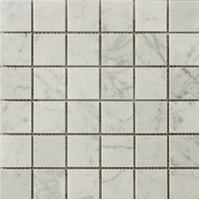 """Natural Stone 2"""" x 2"""" Polished Marble Mosaic in Bianco Gioia"""