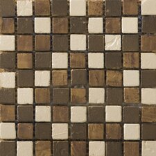 Treasure Metal Coated Travertine Mosaic Blend in Bounty