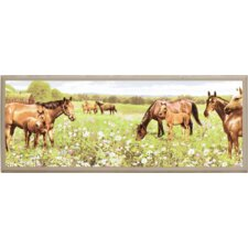 Peaceful Horses Painting Print on Plaque