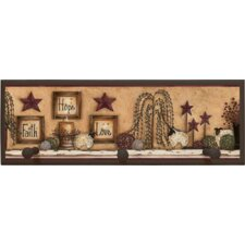 Faith Hope Love Painting Print on Plaque with Pegs