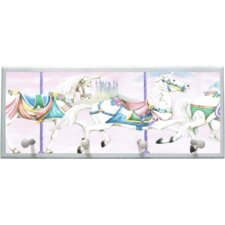 Unicorn Carousel Wall Plaque with Wooden Pegs