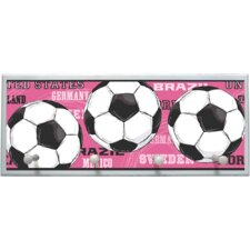 Pink Soccer Balls Wall Plaque with Wooden Pegs