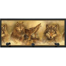 Howling Wolves Painting Print on Plaque with Pegs