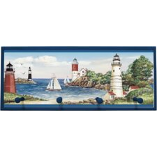 "Lighthouse/Sailboat Wall Art with Pegs - 10.25"" x 25"""