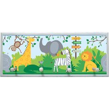 "Zoo Animals Wall Art with Pegs - 10.25"" x 25"""