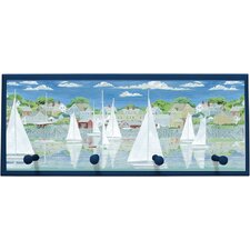 "Racing Yachts Wall Art with Pegs - 10.25"" x 25"""