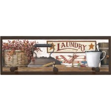 "Country Laundry Wall Art with Pegs - 7"" x 20.5"""