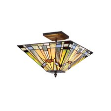 <strong>Chloe Lighting</strong> Mission 2 Light Kinsey Semi Flush Mount
