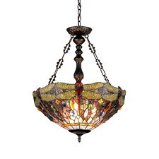 <strong>Chloe Lighting</strong> Dragonfly 3 Light Dragon Inverted Ceiling Pendent